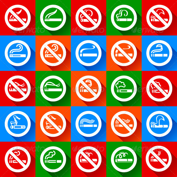 Set 25 stickers No Smoking and Smoking Area Symbols