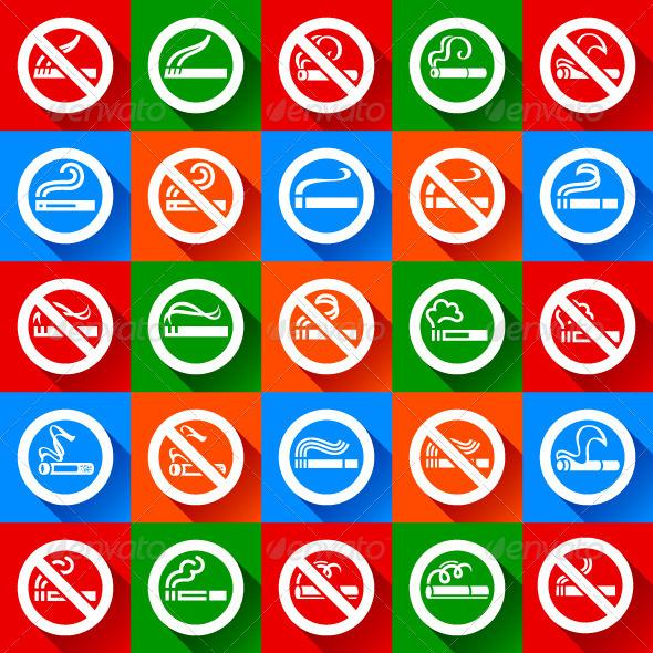 GraphicRiver Set 25 stickers No Smoking and Smoking Area Symbols 6799991