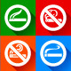 Set 25 stickers. No Smoking and Smoking Area Symbols