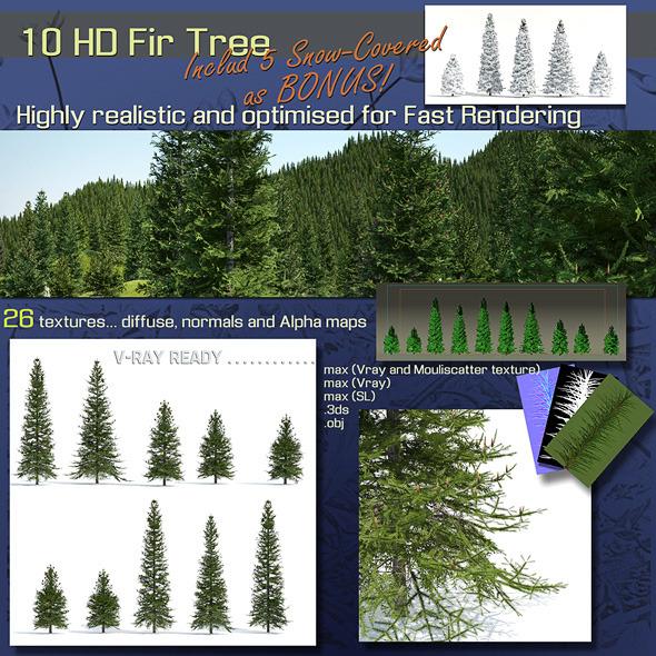 3DOcean 10 Fir Trees 6800262