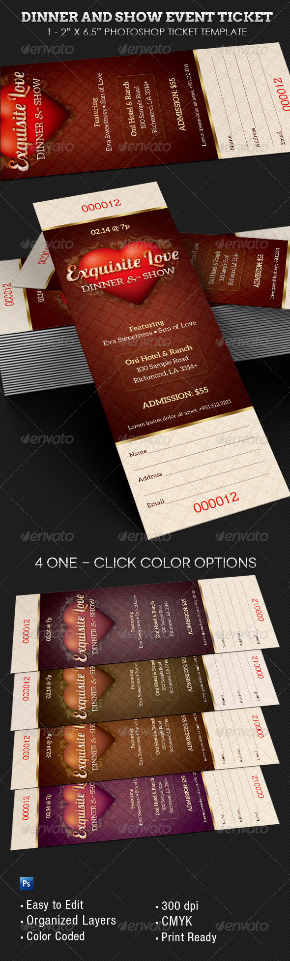 GraphicRiver Dinner and Dance Event Ticket Template 6800521