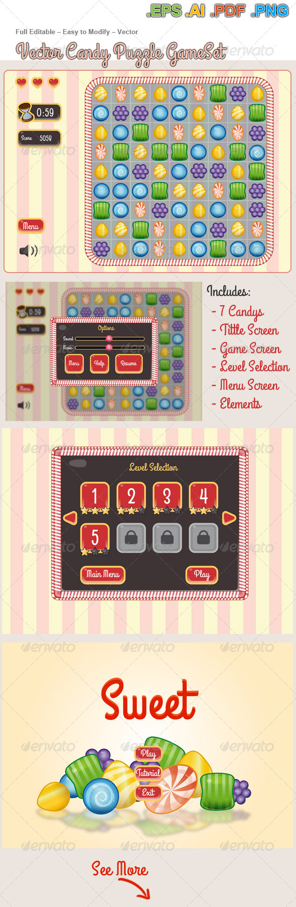 GraphicRiver Vector Candy Puzzle Game KIT 6799785