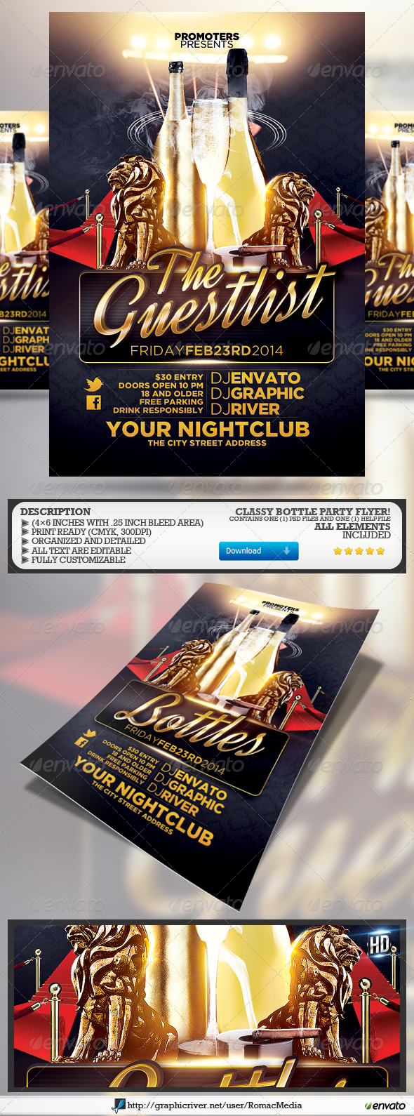 GraphicRiver The Guestlist and Bottle Party Flyer 6793105