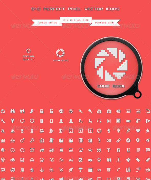 GraphicRiver 540 Perfect Pixel Icons 6793983