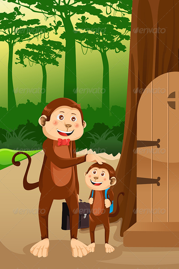 GraphicRiver Monkey Father with his Child 6801302