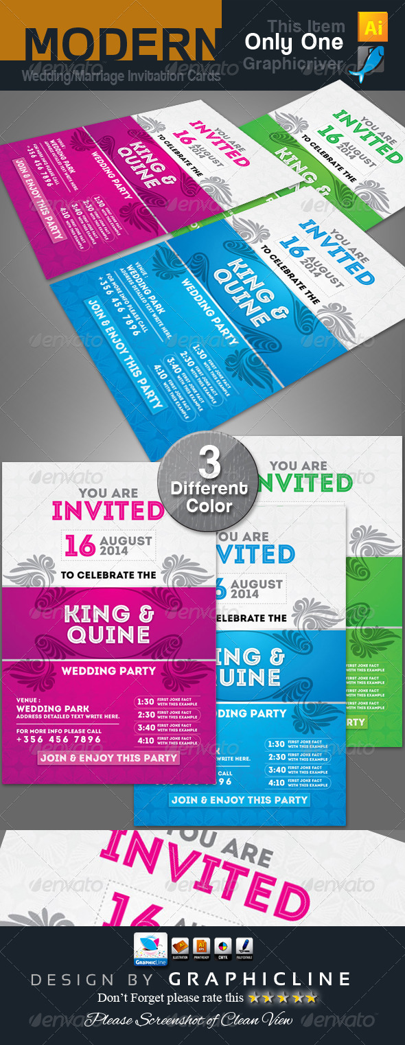 GraphicRiver Modern Wedding Marriage Invitation Cards 6801425