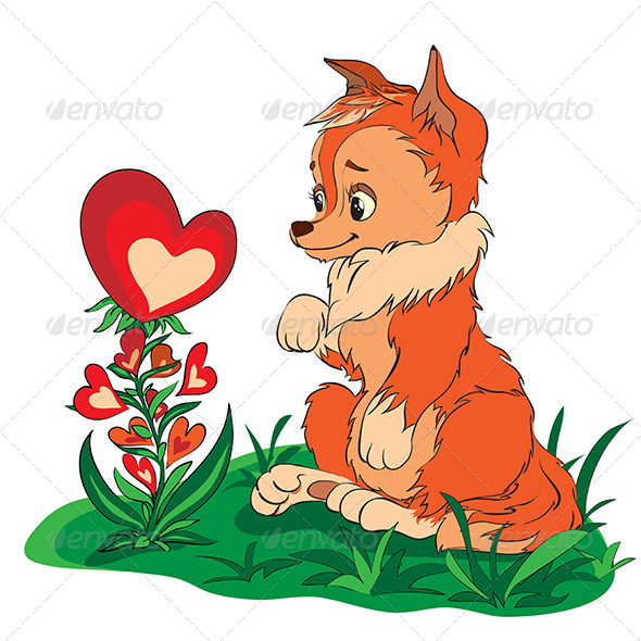 GraphicRiver Fox in a Clearing Looking at Flower 6679242