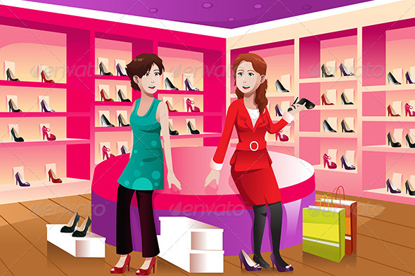 GraphicRiver Two Women Buying Shoes 6801937