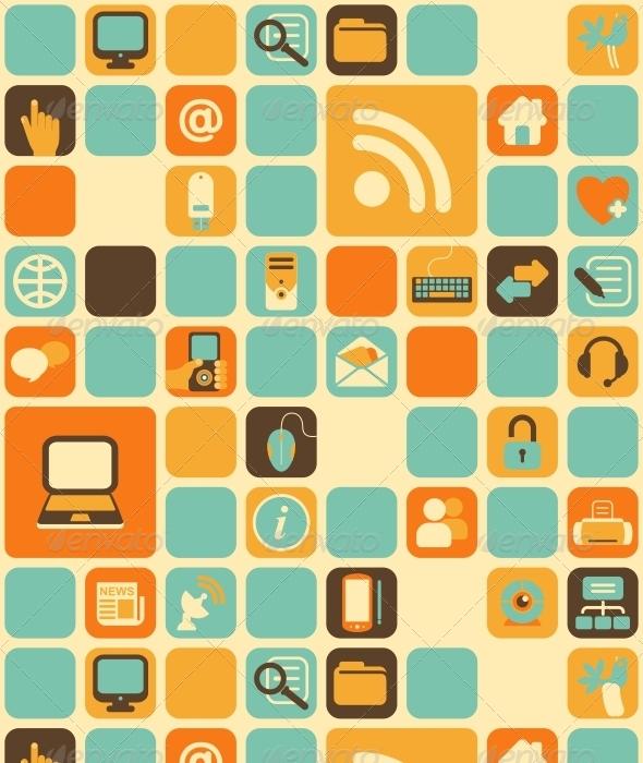 GraphicRiver Computer Icon Pattern 6802121