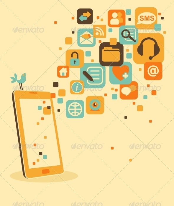 GraphicRiver Smartphone and Social Media Icons 6802253