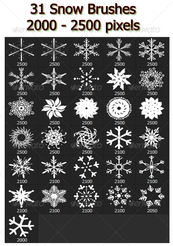 GraphicRiver Snowflakes Vol.I 31 Brushes Set 6802302