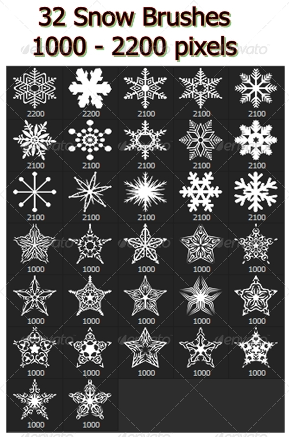 GraphicRiver Snowflakes Vol.II 32 Brushes Set 6802322