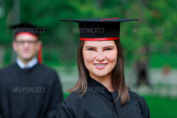 Portrait of a Young Woman in the Graduation Day  - Stock Photo - Images