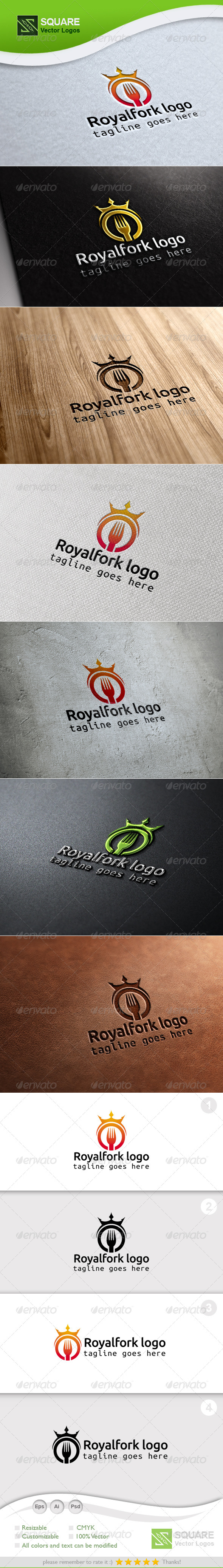 Crown, Fork Vector Logo Template - Food Logo Templates