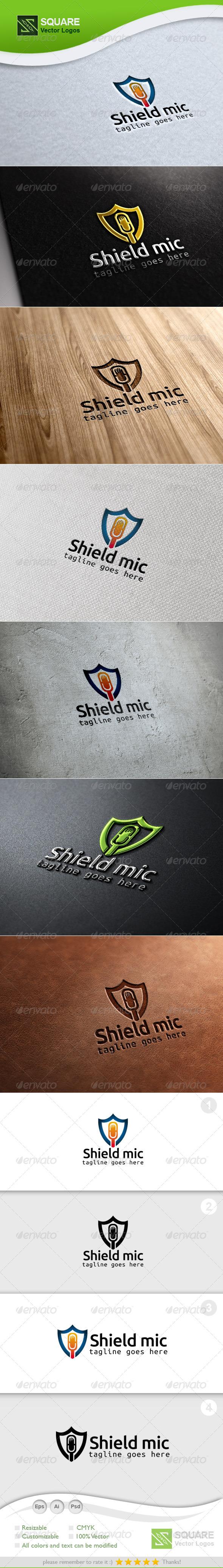 GraphicRiver Shield Mic Vector Logo Template 6803093