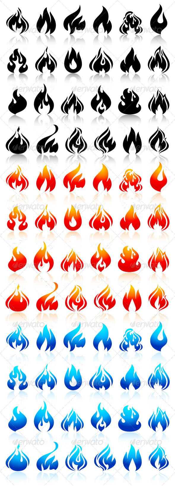 GraphicRiver 24 Flames of Fire in Set Colored 72 Icons 6803372
