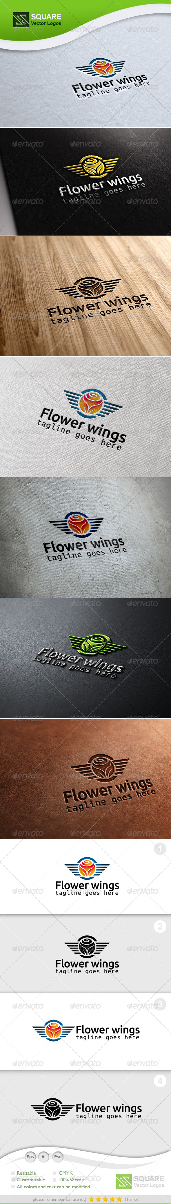 Flower, Wings Vector Logo Template - Symbols Logo Templates