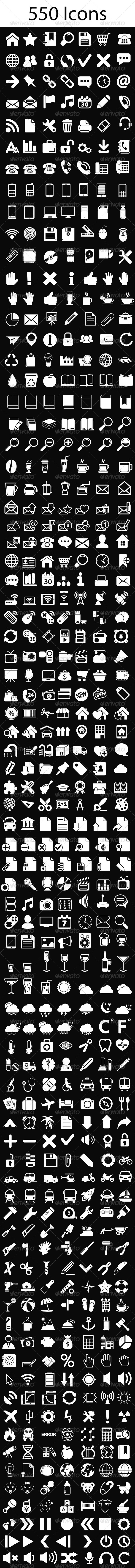 GraphicRiver White Icons Set 6803422