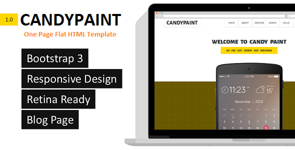 ThemeForest CandyPaint One Page Responsive HTML5 Template 6758274
