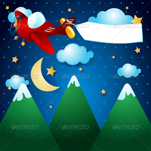 GraphicRiver Airplane and Banner Over the Mountain 6803584