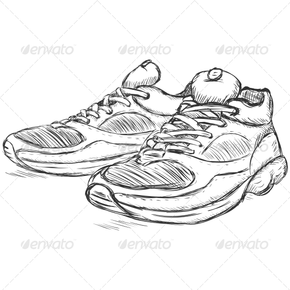 GraphicRiver Running Shoes Sketch 6803898