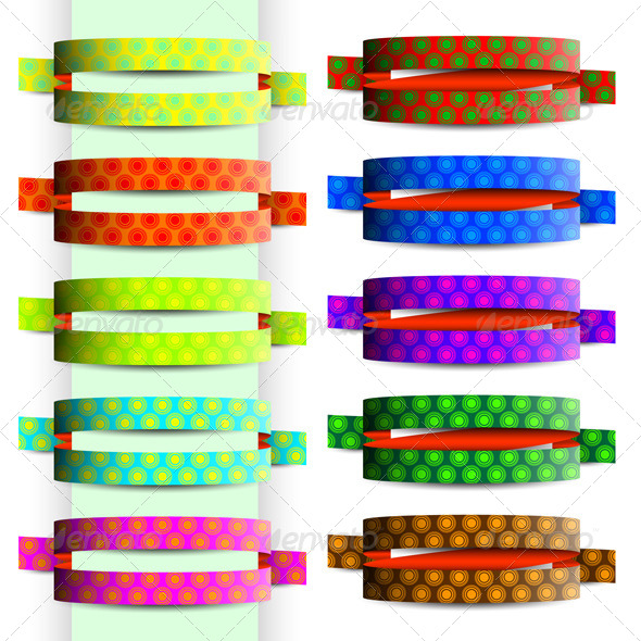 GraphicRiver Collection of Colored Ribbons with Circle Texture 6803903