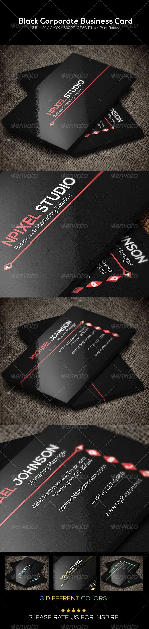 GraphicRiver Black Corporate Business Card 6804257