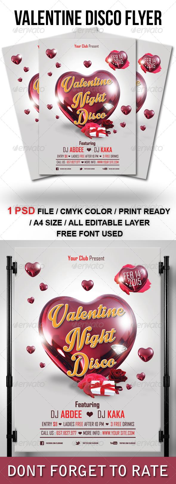GraphicRiver Valentine Night Disco Flyer Template 6804375