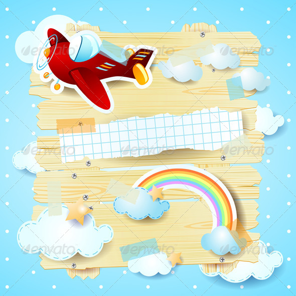 GraphicRiver Fantasy Background with Airplane 6805173