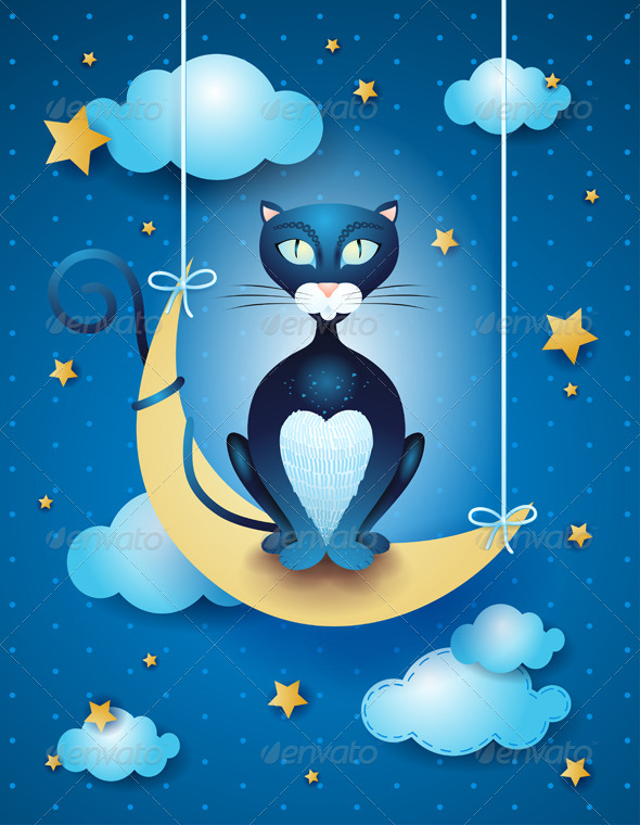 GraphicRiver Cat and Moon 6805245