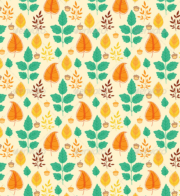 GraphicRiver Seamless Pattern with Autumn Leaves 6805267