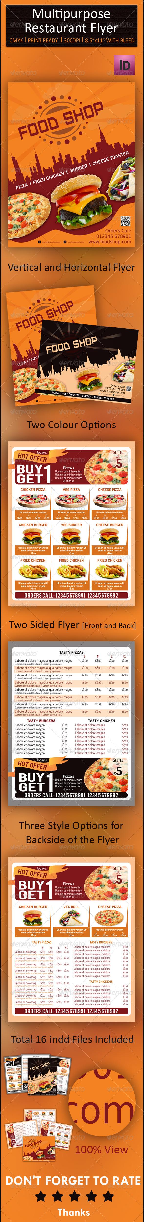 GraphicRiver Multipurpose Restaurant Flyer 6805291