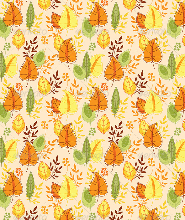 GraphicRiver Seamless Pattern with Autumn Leaves 6805304