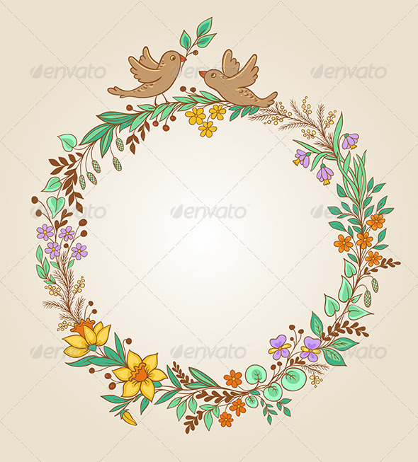 GraphicRiver Wreath of Flowers and Leaves 6805476