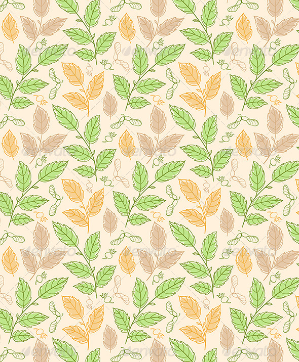 GraphicRiver Seamless Pattern with Elm Branches 6805559