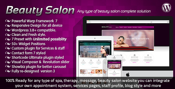 Beauty Salon Responsive Wordpress Template