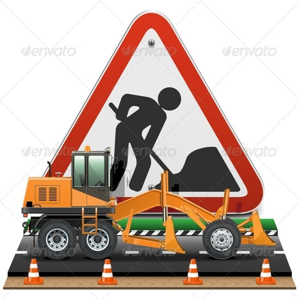 GraphicRiver Road Construction Concept with Sign 6805781