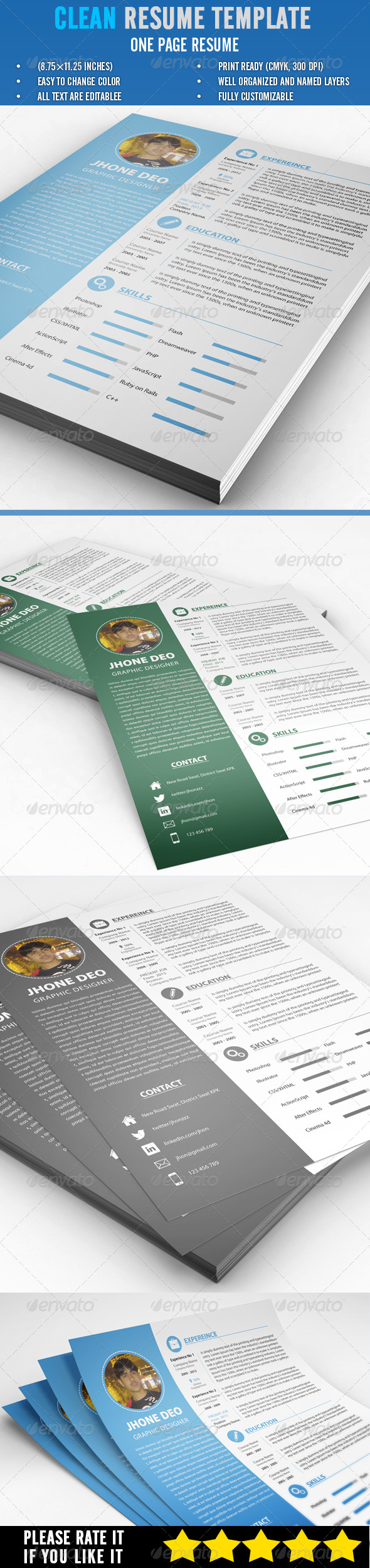 GraphicRiver Clean Resume Template 6805785
