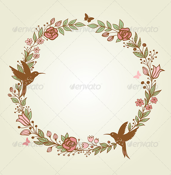 GraphicRiver Floral Frame and Birds 6805822