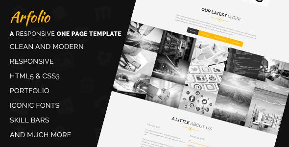ThemeForest Arfolio One Page Responsive Portfolio Template 6800163