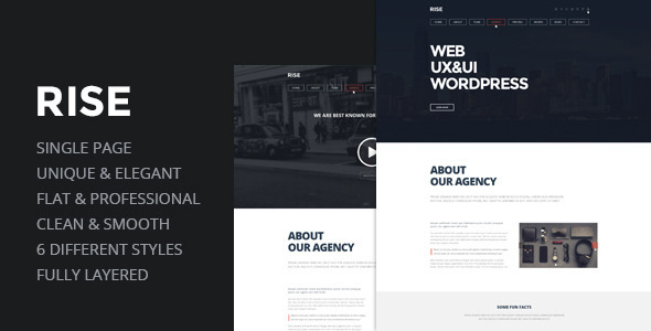 RISE -  OnePage Agency Portfolio Template  - Experimental Creative