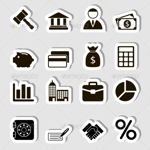 Business Icons Set as Labels