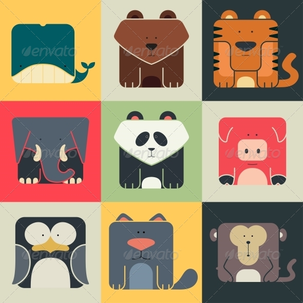GraphicRiver Flat Set of Square Animal Icons 6807165