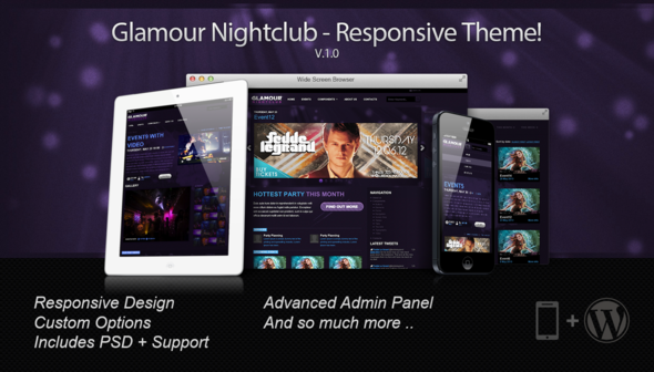 ThemeForest Glamour Nightclub WordPress Theme 6363877