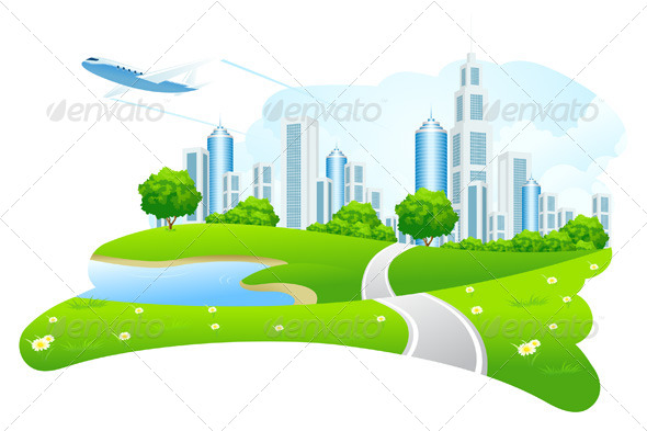 GraphicRiver Green City Landscape 6807273