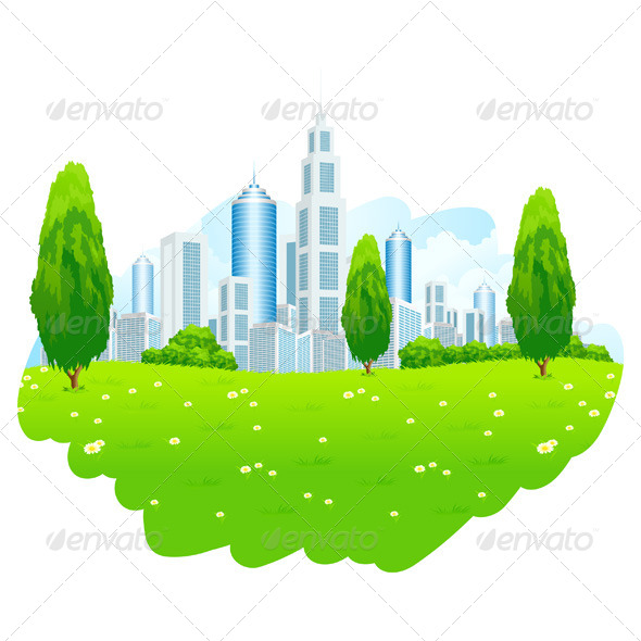 GraphicRiver Green Landscape with City 6807279