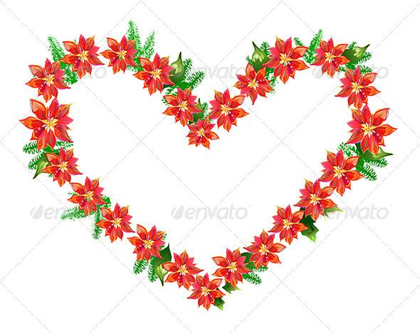 GraphicRiver Poinsettia Heart 6807295