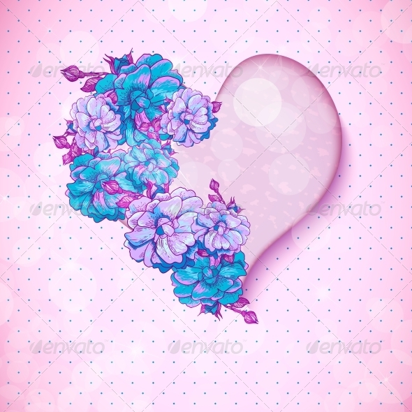 GraphicRiver Valentine s Day Floral Background with Hearts 6807325