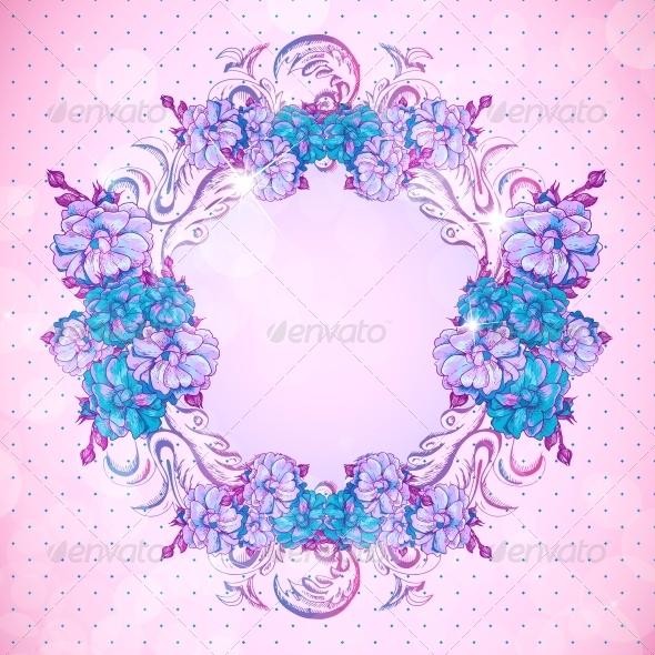 GraphicRiver Floral Frame in Vintage Style 6807549