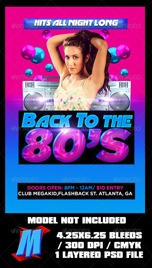GraphicRiver Back To The 80s Flyer Template 6800735